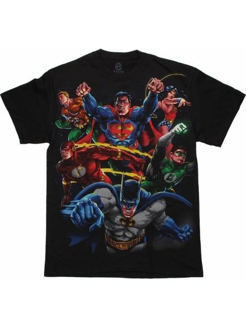 DC COMICS HEROES (BATMAN/ SUPERMAN/ FLASH) VS EVIL (THE JOKER/ RIDDLER/ PENGUIN) BLACK T-SHIRT