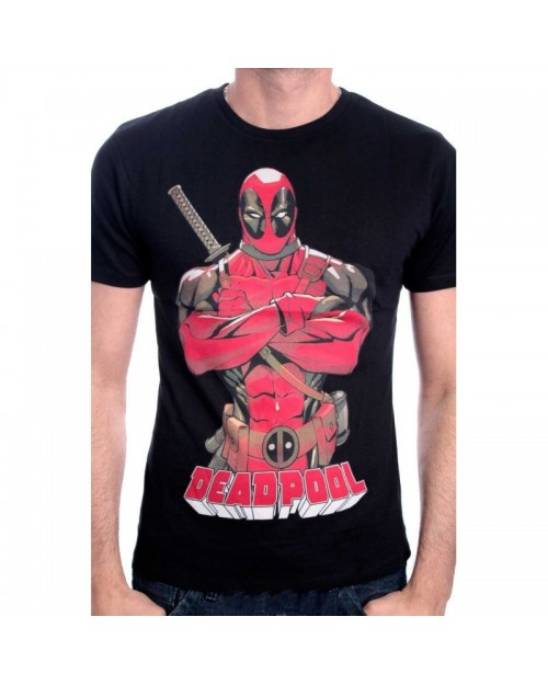 AWESOME MARVEL'S DEADPOOL PENCIL DRAWING PRINT WHITE T-SHIRT