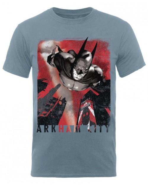 DC COMICS BATMAN ARKHAM CITY DIVE BLUE T-SHIRT