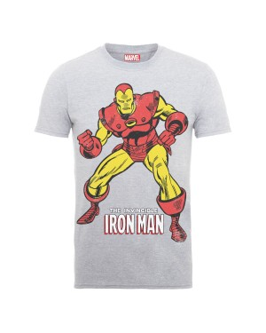 MARVEL'S THE INVINCIBLE IRON MAN GREY RETRO T-SHIRT