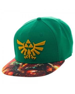 LEGEND OF ZELDA TRIFORCE GREEN SNAPBACK CAP WITH LINK VS GANON GREEN PRINTED VISOR