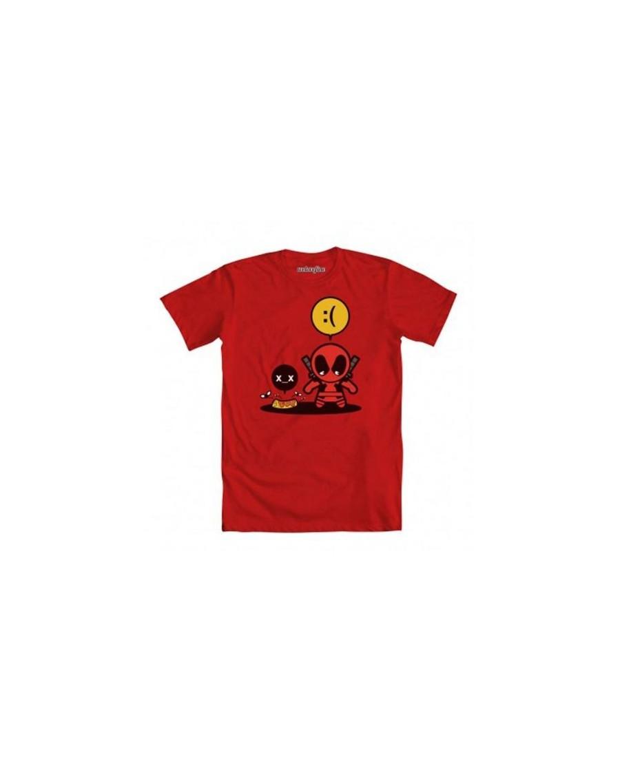 MARVEL COMICS CARTOON DEADPOOL - SADPOOL DROPPED BURRITO RED T-SHIRT