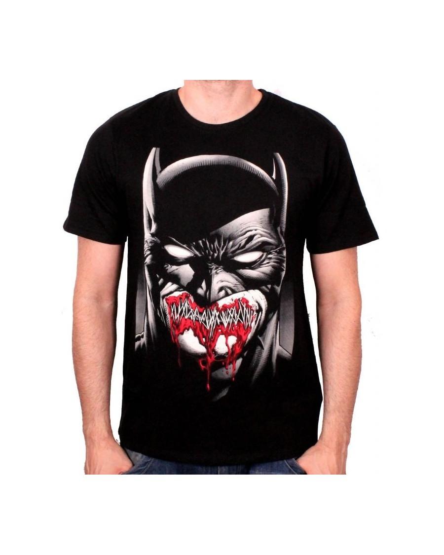 DC COMICS BATMAN STITCHED DARK SMILE ALMOST ZOMBIE LIKE BLACK T-SHIRT