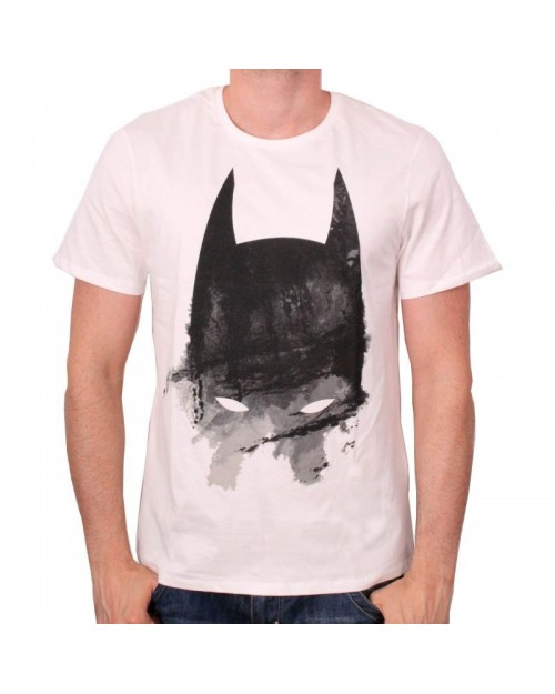 DC COMICS BATMAN COWL PAINT ART CREAM T-SHIRT
