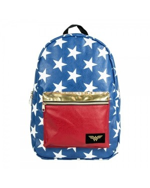OFFICIAL DC COMICS WONDERWOMAN BLUE AND RED STARS BACKPACK