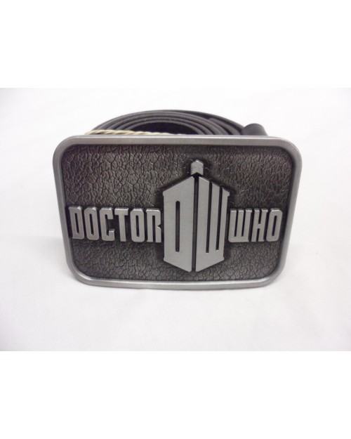 DOCTOR WHO GREY 'DW' TARDIS BUCKLE with BELT