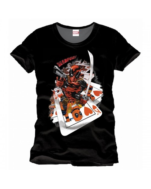 OFFICIAL MARVEL COMICS DEADPOOL PLAYING CARDS BLACK T-SHIRT