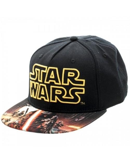 STAR WARS SYMBOL BLACK SNAPBACK CAP WITH THE FORCE AWAKENS SPRINTED VISOR