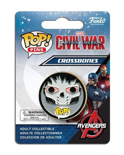 OFFICIAL MARVEL COMICS CAPTAIN AMERICA CIVIL WAR CROSSBONES POP! PIN BADGE