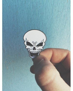 COOL SKULL HARD ENAMEL PIN BADGE (TOO MUCH DEATH)