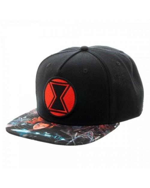 OFFICIAL MARVEL COMICS BLACK WIDOW SYMBOL BLACK SNAPBACK CAP