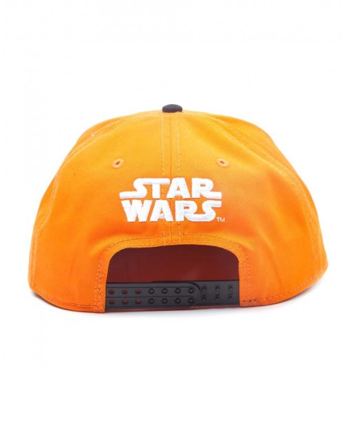 OFFICIAL STAR WARS THE RESISTANCE SYMBOL ORANGE SNAPBACK CAP WITH PRINTED VISOR