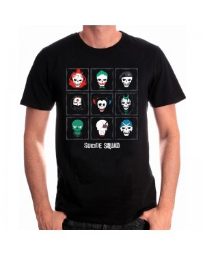 DC COMICS SUICIDE SQUAD SKULL ICONS BLACK T-SHIRT