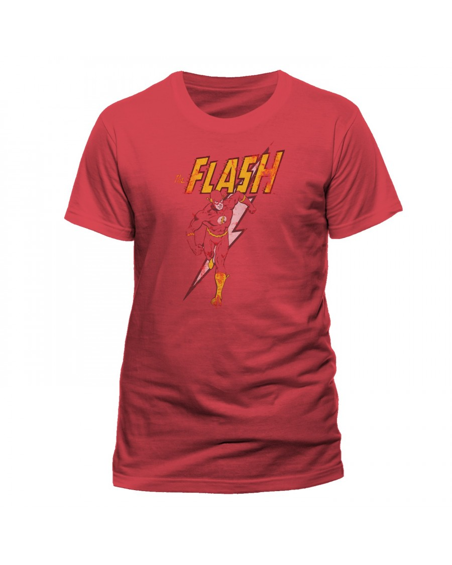 OFFICIAL DC COMICS THE FLASH STRIKE DISTRESSED RED T-SHIRT