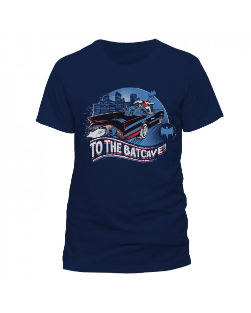 OFFICIAL DC COMICS BATMAN 1966 'TO THE BATCAVE' NAVY BLUE T-SHIRT