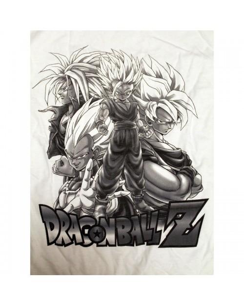 OFFICIAL DRAGON BALL Z - SAIYAN GROUP BACK & WHITE T-SHIRT
