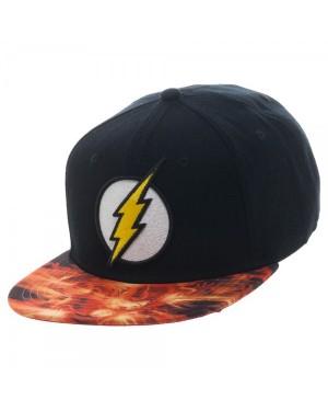OFFICIAL DC COMICS THE FLASH SYMBOL BLACK SNAPBACK CAP WITH PRINTED VISOR