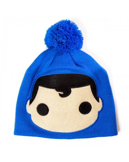 OFFICIAL DC COMICS SUPERMAN FACE POP HEROES BLUE BEANIE HAT