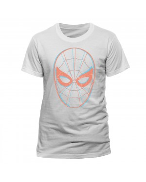OFFICIAL MARVEL COMICS SPIDER-MAN 3D STYLED MASK PRINT WHITE T-SHIRT