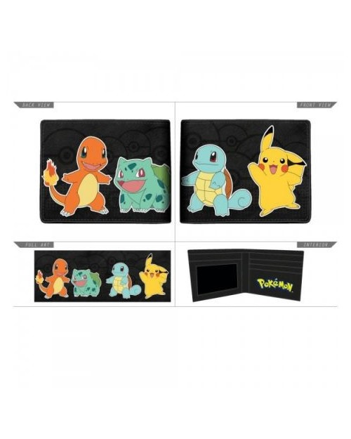 OFFICIAL POKEMON STARTERS (CHARMANDER, SQUIRTLE, BULBASAUR AND PIKACHU) BI-FOLD WALLET