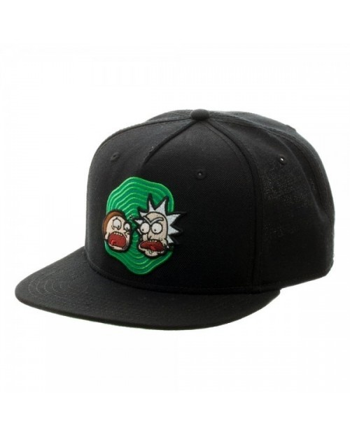 OFFICIAL RICK AND MORTY BLACK SNAPBACK CAP WITH PRINTER VISOR