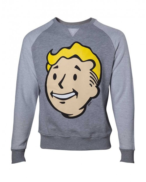 OFFICIAL FALLOUT 4 VAULT BOY FACE GREY SWEATER JUMPER