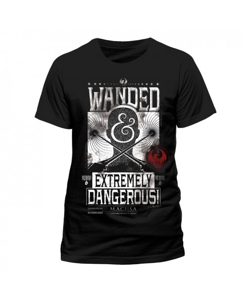 OFFICIAL FANTASTIC BEASTS AND WHERE TO FIND THEM WANDED POSTER BLACK T-SHIRT