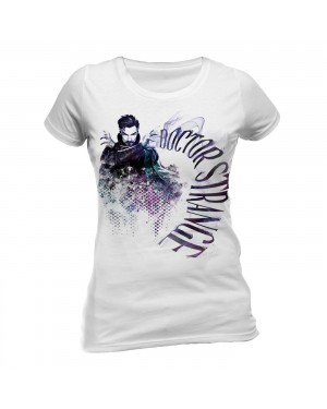 OFFICIAL DOCTOR STRANGE INK EFFECT FITTED WHITE T-SHIRT