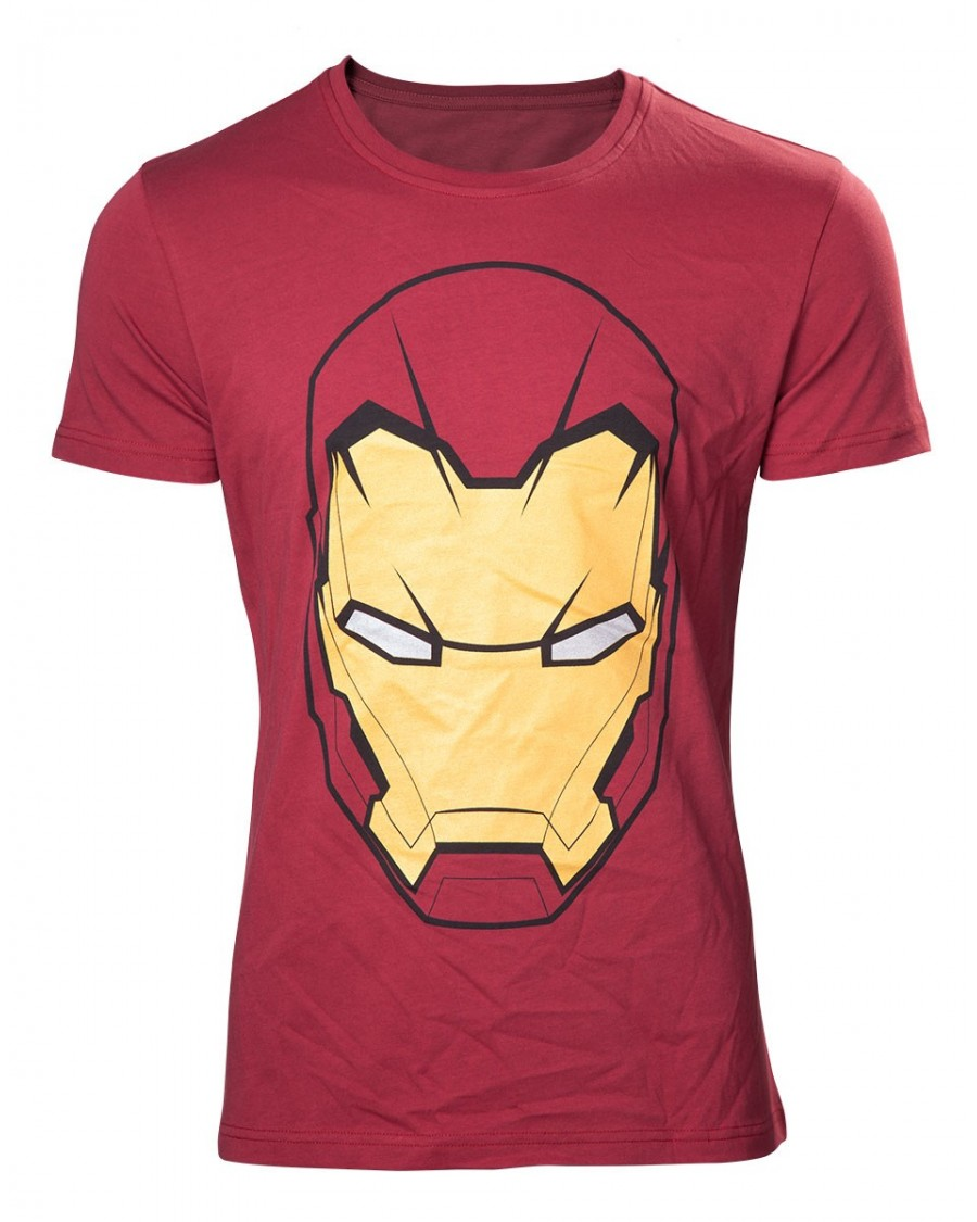 OFFICIAL MARVEL COMICS IRON MAN LARGE MASK RED T-SHIRT