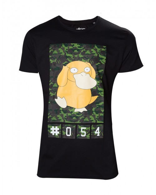OFFICIAL POKEMON PSYDUCK 054 CAMOUFLAGE PRINT BLACK T-SHIRT