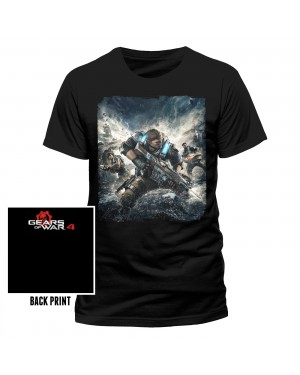 OFFICIAL GEARS OF WAR 4 COVER PRINT BLACK T-SHIRT