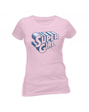 OFFICIAL DC COMICS SUPERGIRL PINK FITTED T-SHIRT