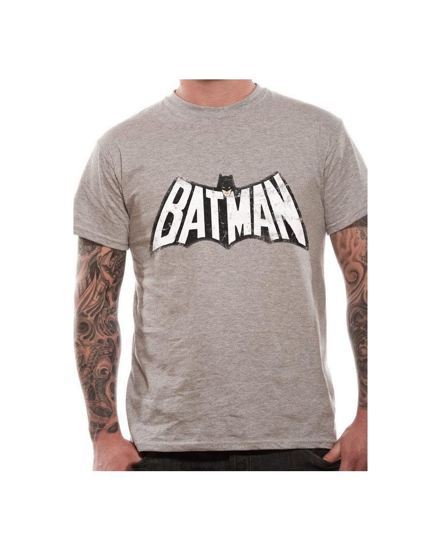 OFFICIAL DC COMICS BATMAN 1966 BLACK & WHITE SYMBOL GREY T-SHIRT