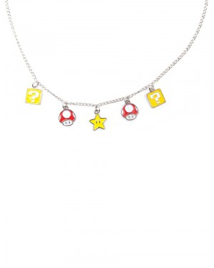 OFFICIAL NINTENDO'S SUPER MARIO BRO'S POWER UP MUSHROOM, QUESTION MARK BLOCK & SUPER STAR CHARM NECKLACE
