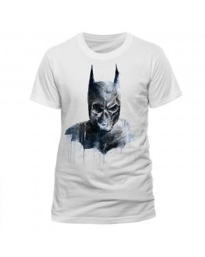 OFFICIAL DC COMICS BATMAN GOTHIC SKULL PAINT ART WHITE T-SHIRT