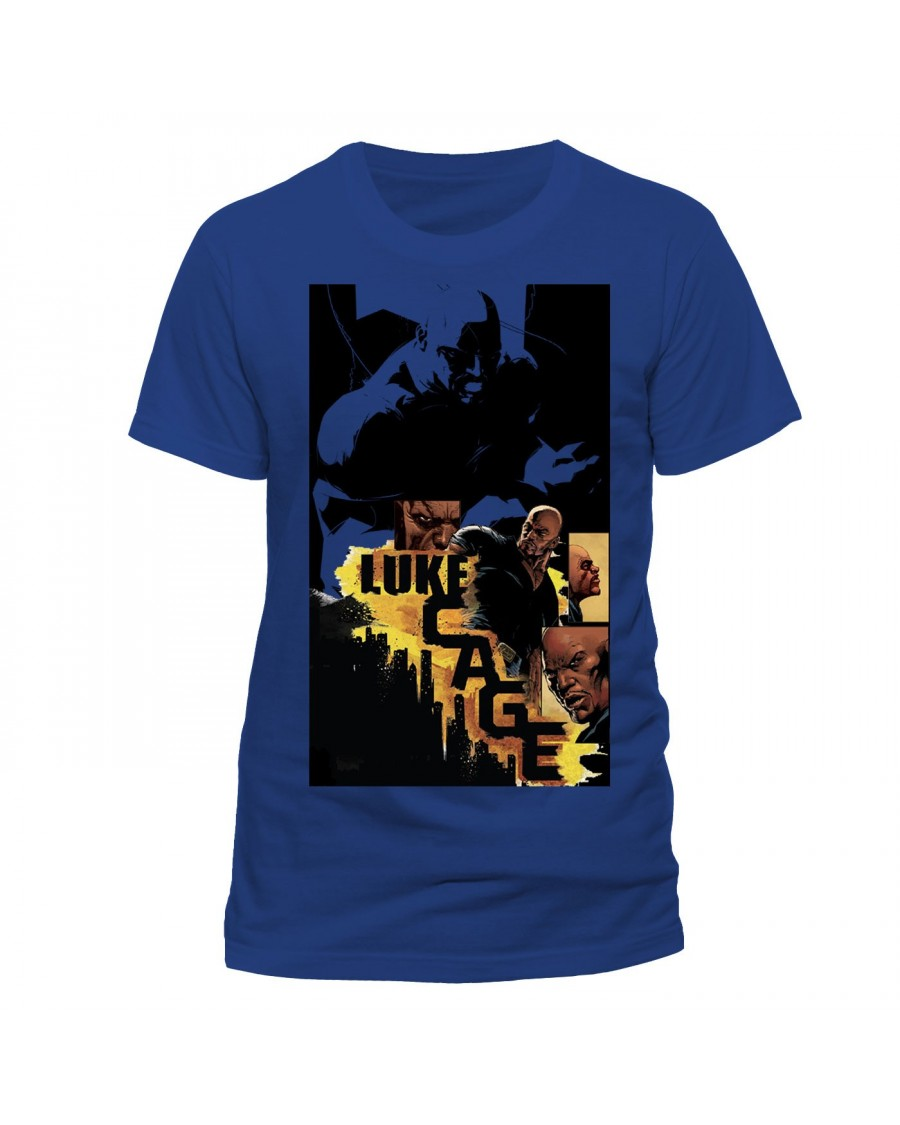 OFFICIAL MARVEL COMICS LUKE CAGE CITY COMIC STYLED PRINT BLUE T-SHIRT