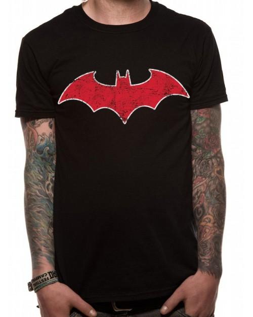 OFFICIAL DC COMICS BATMAN RED BAT SYMBOL DISTRESSED BLACK T-SHIRT