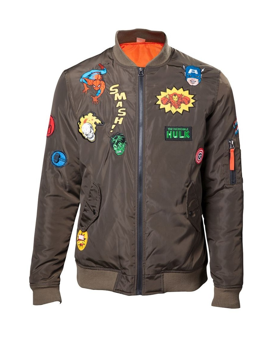 OFFICIAL MARVEL COMICS SUPER HERO PATCHES KHAKI BOMBER JACKET (MALE)