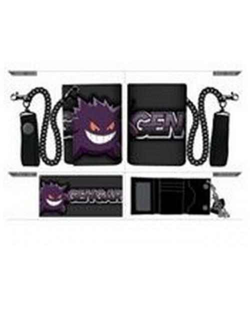 OFFICIAL POKEMON GENGAR TRIFOLD WALLET WITH CHAIN