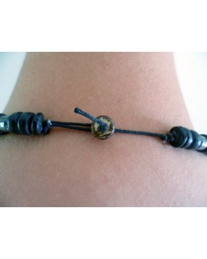 BROWN COCO BEAD & HEMATITE BEACH STYLED SURFER NECKLACE