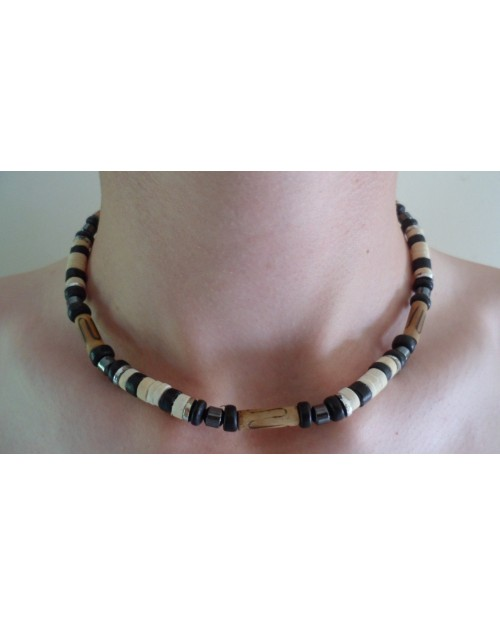 WHITE COCO BEAD & HEMATITE BEACH STYLED SURFER NECKLACE