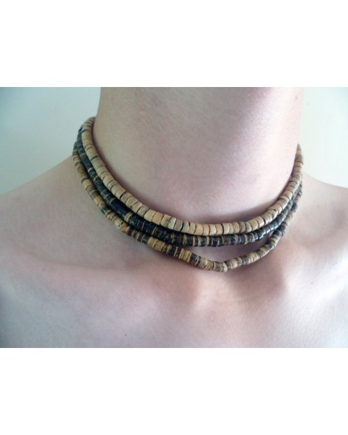 SET OF 3 SURFER STYLED COCO BEAD NECKLACE [DARK BROWN & BROWN]