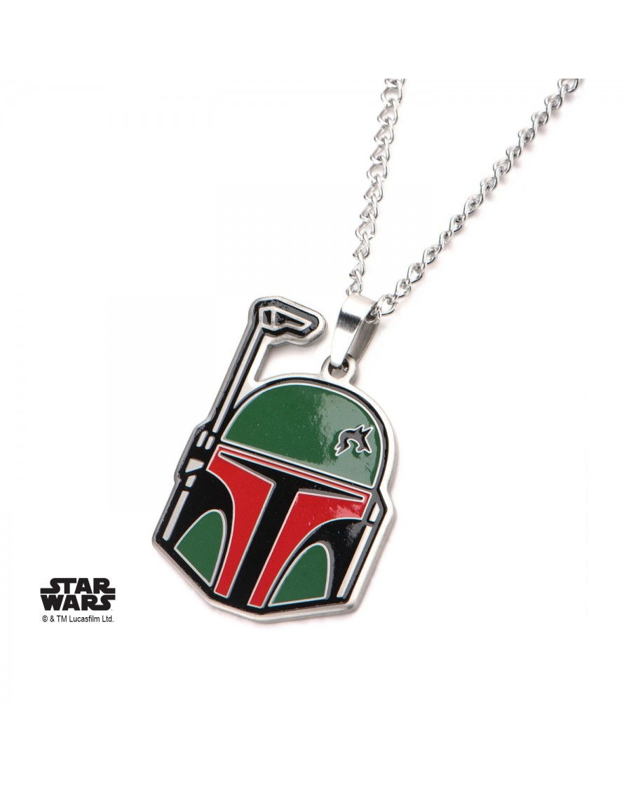 STAR WARS BOBA FETT MASK CUT OUT PENDANT ON CHAIN NECKLACE