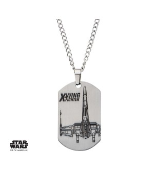 STAR WARS X-WING FIGHTER DOG TAG PENDANT ON CHAIN NECKLACE