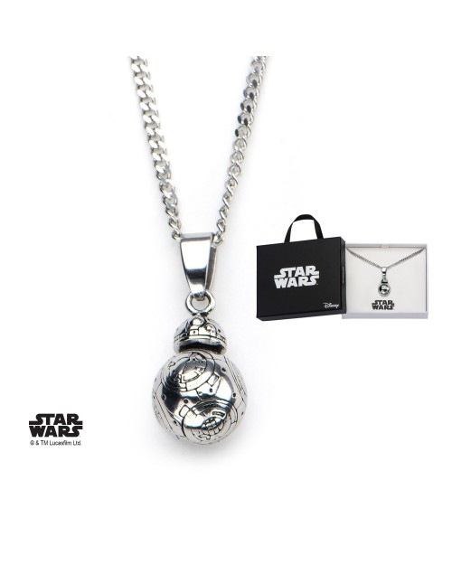STAR WARS BB-8 3D STAINLESS STEEL PENDANT ON CHAIN NECKLACE