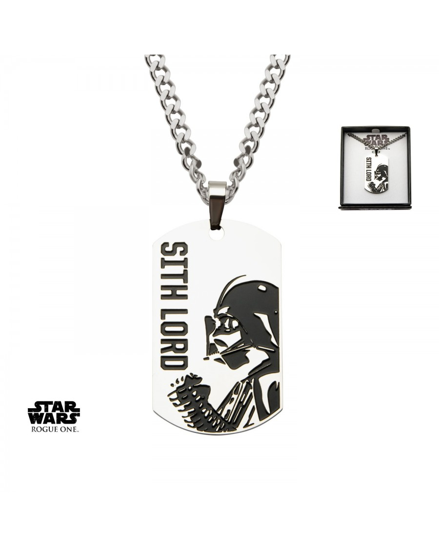 STAR WARS ROGUE ONE: DARTH VADER 'SITH LORD' DOG TAG PENDANT ON CHAIN NECKLACE