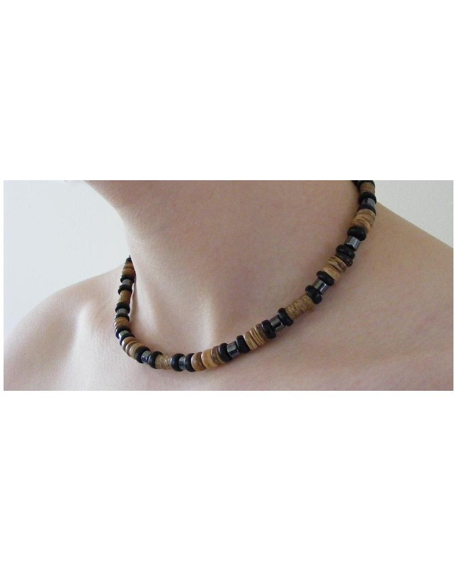 COCO BEAD AND HEMATITE SURFER STYLED NECKLACE [MIXED]