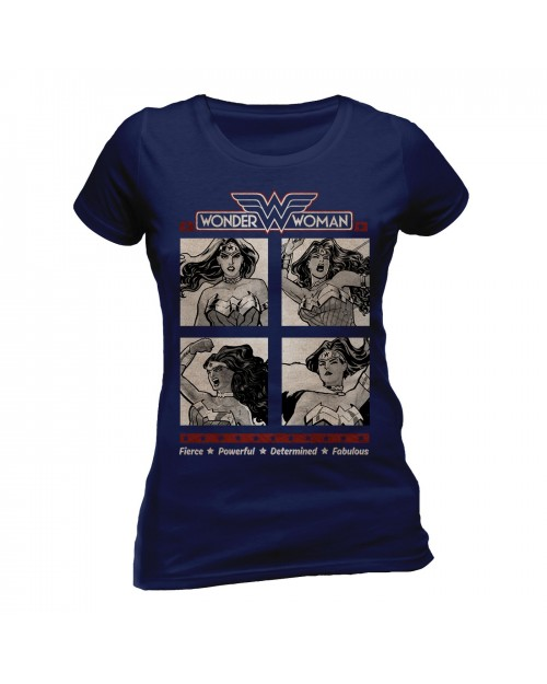 OFFICIAL DC COMICS WONDER WOMAN - FIERCE, POWERFUL, DETERMINDED & FABULOUS FITTED T-SHIRT