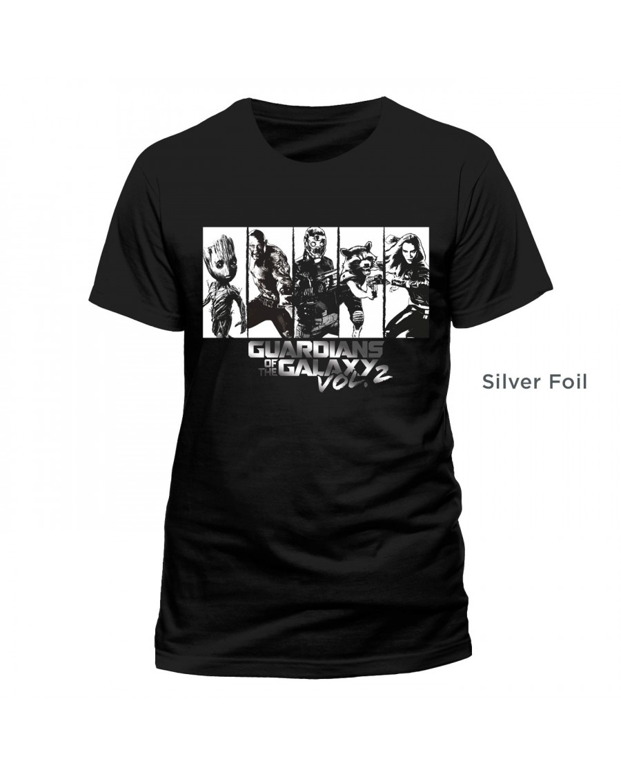 OFFICIAL GUARDIANS OF THE GALAXY VOL 2 - CHARACTER STRIP SILVER FOIL BLACK T-SHIRT