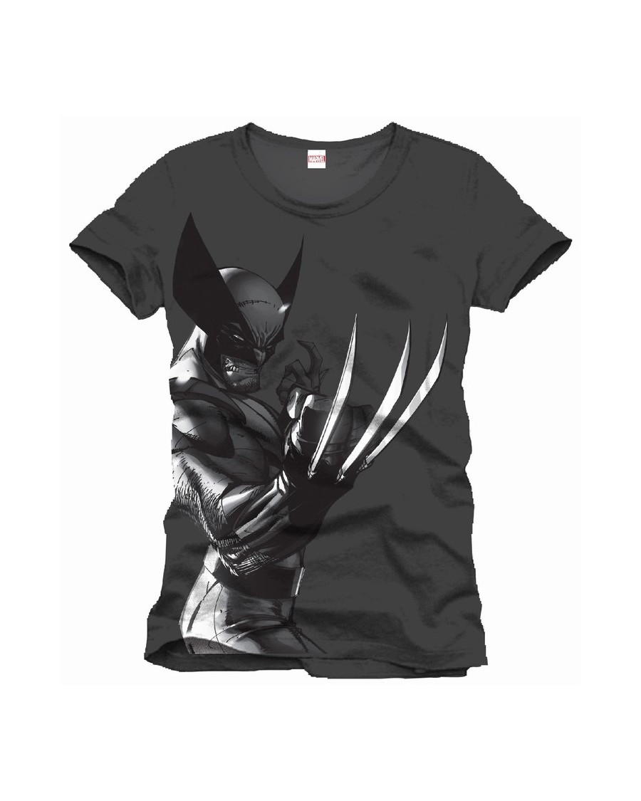 OFFICIAL MARVEL COMICS WOLVERINE CLAWS SHINY PRINT GREY T-SHIRT